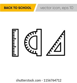 Ruller. School supplies icon, eps 10. Back to school.