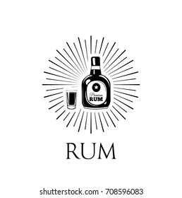 Rum Bottle And Glass. Alcohol Drink. Vector Illustration Isolated On White Background
