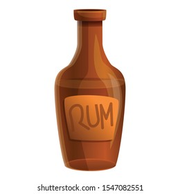 Rum bottle icon. Cartoon of rum bottle vector icon for web design isolated on white background