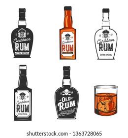 Rum bottles isolated on  white. Pirate skull. Vintage. Vector illustration.