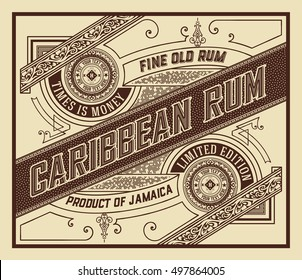 Rum label with old ornaments