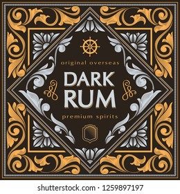Rum - ornate vintage decorative label