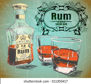 Rum was pour in two glasses with bottle on shabby background.Design for advertising of alcohol drink.Vector illustration