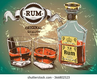 Rum was pour in two glasses with bottle on shabby background. Alcoholic drink design.Vector illustration