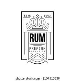 Rum vintage label design, premium exclusive strong drink badge estd 1963, alcohol industry monochrome emblem vector Illustration on a white background