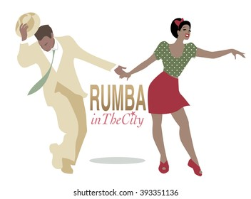 Rumba in the city. Handsome man and pin-up girl dancing latin music