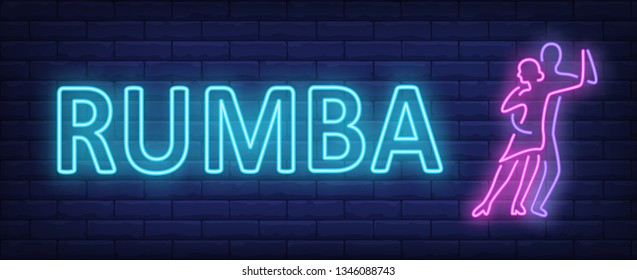 Rumba neon text with two dancers. Dance studio or performance design. Night bright neon sign, colorful billboard, light banner. Vector illustration in neon style.