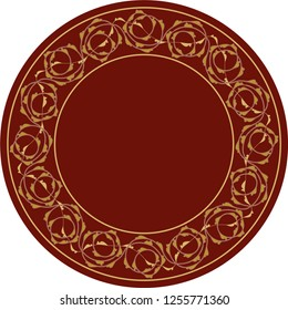 Rumi Roses. Vector drawing for decoration. It is used as wall decoration, icon, avatar, wall plate, dinner plate, ceramic and tile motif, icon, logo, emblem, gift card.