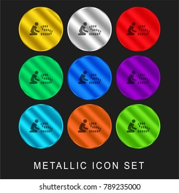 Rummy 9 color metallic chromium icon or logo set including gold and silver