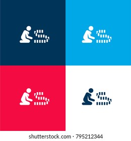 Rummy four color material and minimal icon logo set in red and blue