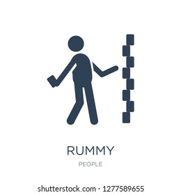 rummy icon vector on white background, rummy trendy filled icons from People collection, rummy vector illustration