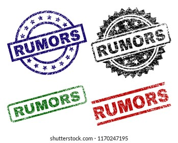 RUMORS seal prints with corroded texture. Black, green,red,blue vector rubber prints of RUMORS label with corroded style. Rubber seals with circle, rectangle, medallion shapes.