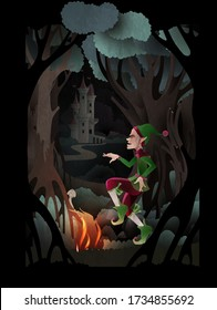 Rumpelstiltskin Charakter tanzt vor dem Feuer vor dunklem Wald und Schloss. Märchenbuchcover-Vektor-Illustration