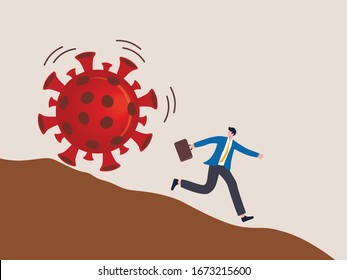 Run away from virus disease outbreak concept, risk or danger in Virus crisis concept, businessman run away from rolling COVID-19 virus pathogen stone down the hill.