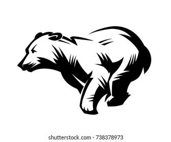 Run bear. Wild animal emblem