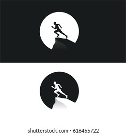 Run Black White Silhouette