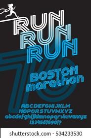 Run Boston marathon sport font. Retro Vintage typeface. Line Alphabet. Type letters and numbers.