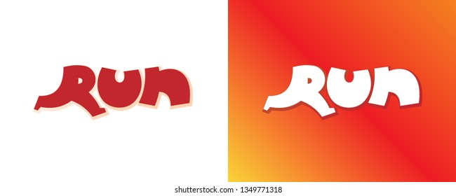 Run cartoon style red background set. Letter R form running man. Isolated vector sign symbol element. Typeset design. Banner template. Text sport font