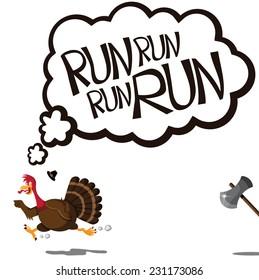 Run run run cartoon turkey EPS 10 vector illustration