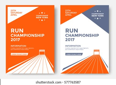 Run championship poster design template. Running marathon vector flyer. Finish line