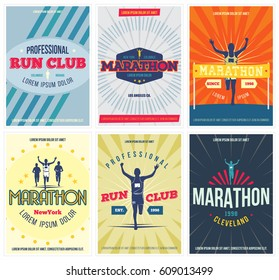 Run club 6 colorful posters set. Marathon vintage flyers collection. Isolated. Vector illustration.