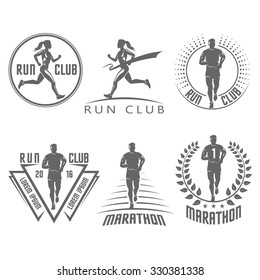 Run club labels and emblems