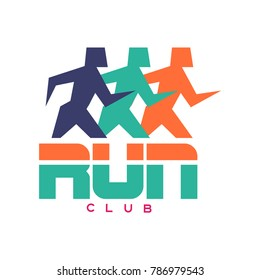 Run club logo, colorful emblem with abstract running people silhouettes, label for sports club, sport tournament, competition, marathon and healthy lifestyle vector illustration