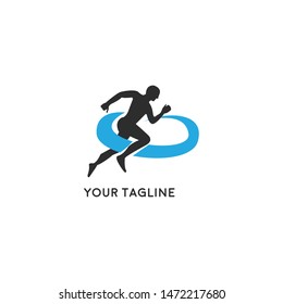 Run club logo, design for event, advertising, greeting cards or print.  emblem with abstract running people silhouettes, label for sports club, sport tournament, competition, marathon and healthy life