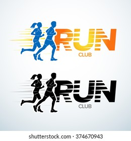 Run club logo template. Sport logotype template, sports club, running club and fitness vector logo design template. Man and woman fitness.