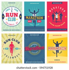 Run club posters set. Marathon vintage design elements. Isolated. Vector. Retro marathon flyers