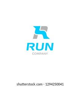 Run Company Logo Letter R + Feet running