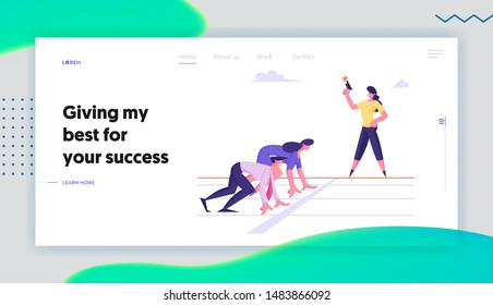 Run Competition on Race Track Website Landing Page. Managers and Entrepreneurs Standing on Start Line Ready for Sprint Waiting Starter Pistol Signal Web Page Banner. Cartoon Flat Vector Illustration