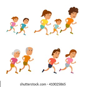 Run family, old couple and child.