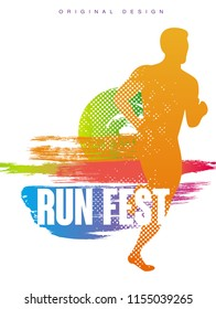 Run fest original gesign, colorful poster template for sport event, marathon, championship, can be used for card, banner, print, leaflet vector Illustration