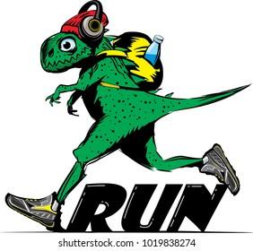 Run for fun. Dinosaur running, sports and fitness concept, funny comic animal cartoon character. Vector illustration