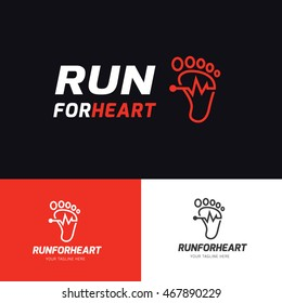 Run for heart running logo template