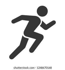 Run Icon. Running Man on White Background. Vector