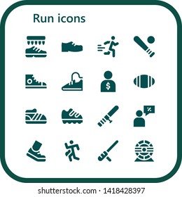 run icon set. 16 filled run icons.  Collection Of - Shoes, Runner, Baseball, Sneakers, Sport shoes, Salesman, Rugby, Shoe, Baton, Running, Run, Hamster wheel