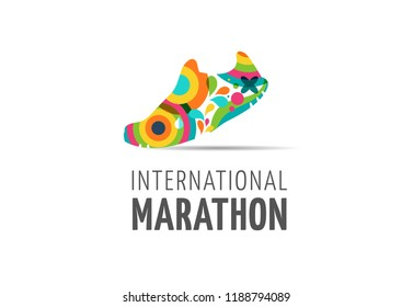 Run icon, symbol, running marathon poster and logo