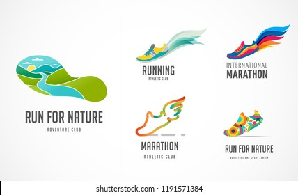Run icon, symbol, running marathon poster and logo collection