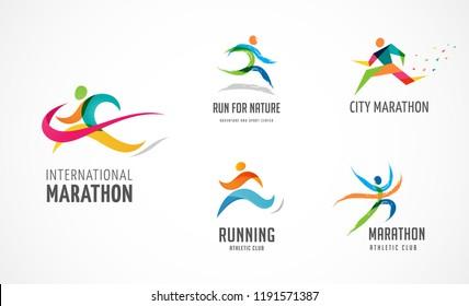 Run icon, symbol, running marathon poster and logo collection