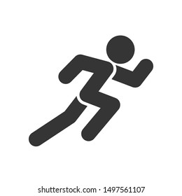 Run icon template color editable. Run symbol vector sign isolated on white background illustration for graphic and web design.