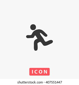 run Icon Vector. Simple flat symbol. Perfect Black pictogram illustration on white background.