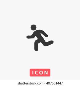 run Icon Vector. Simple flat symbol. Perfect Black pictogram illustration on white background.