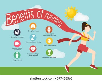 Run infographics. Minimal cool vector illustration for print or web. Fitness concept with young adult woman running. Sport fitness female character running