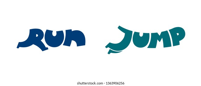 Run and Jump cartoon style. Letter R form running man. J jumping body silhouette. Corporate sign for game company or sport service typeset design. Banner template text font. Isolated vector element