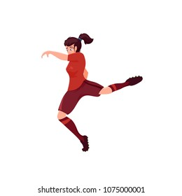 Run and kick, football girl, vector flat cartoon illustration isolated on white background