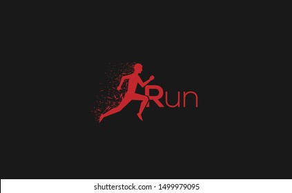 RUN Letter Logo Design with Creative Modern Trendy Typography
