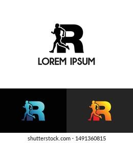 Run Letter R simple logo icon design vector