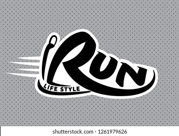 Run lettering. Silhouette of a word. Vector emblem